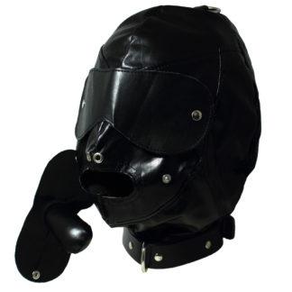 Echtleder-Maske Augenbinde Knebel