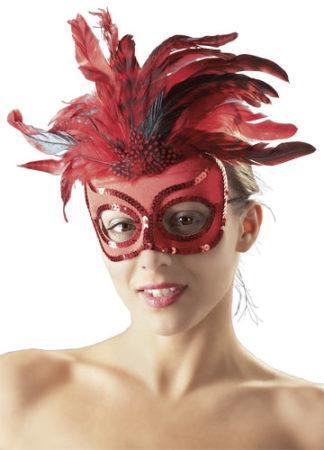 Rote Maske mit Paillettenverzierung